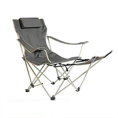 BSDBDF Silla reclinable Plegable para Acampar al Aire Libre, Silla reclinable portátil para con Soporte de Taza y reposapiés para jardín, Playa, Senderismo, picnics