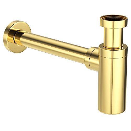 """Preisvergleich Produktbild ATCO® Design Siphon Flaschensiphon Sifon Ablaufgarnitur Röhrensiphon Geruchsverschluss Waschbecken Waschtisch Ablauf rund 1 1 / 4""""x32mm vergoldet gold"""