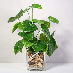 KTZAJO 2021 The Latest Artificial Plants, Ceramic Flowerpot Artificial Simulation Succulents Flower Potted Home Interior Office Decoration Fake Green Plants (4 Pieces) Combination 3