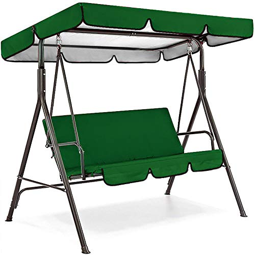 Torlia Universal Outdoor Swing Replacement Canopy,for Swing Seat Chair,Replacement Sunshade Waterproof Trap Cover for Porch Patio Garden Pool Seat-green_142*120*18cm