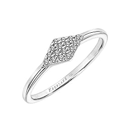 professional Inlaid ring with diamond-shaped bezel made of diamonds and 925 sterling silver 1/10 carat (IJ color, I3 …)