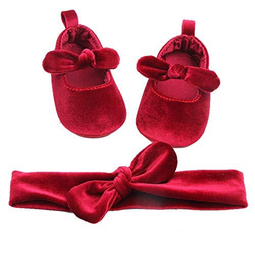 amropi Baby Mädchen Lauflernschuhe mit Haarband Krabbelschuhe Kleinkind Taufe Prinzessin Ballerina Schuhe (Rot, 6-9 Monate)