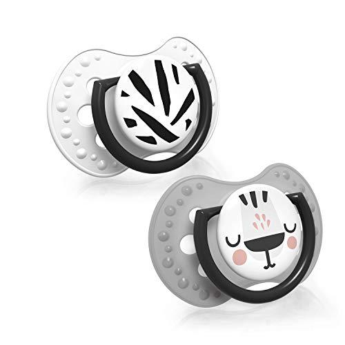 LOVI 2x dynamischer Silikon-Schnuller | ab 0 bis 3 Monate | Hygienische Abdeckung | Beruhigende Wirkung | Schützt den Saugreflex | Salt&Pepper Kollektion