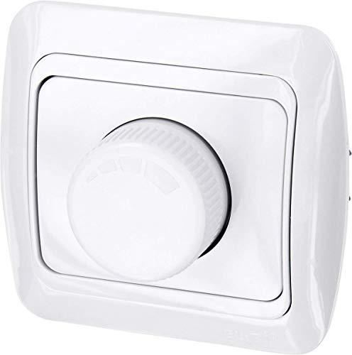 Interruptor regulador de rotación de 200W, todo en uno, marco + unidad empotrable + cubierta (Serie T1color blanco)