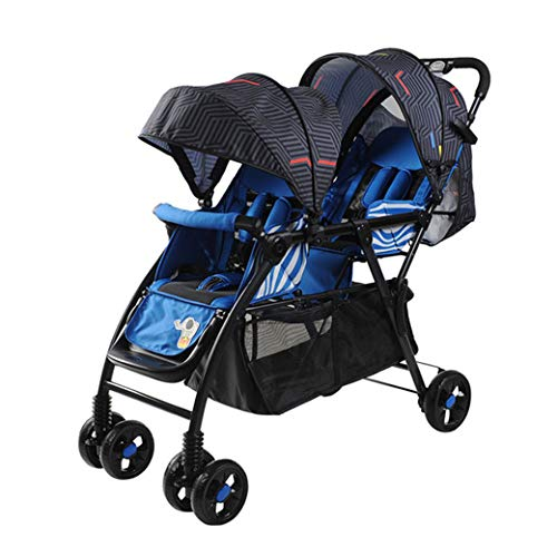 Fantastic Prices! UBG Twin Stroller Can Sit Reclining Foldable Double Trolley Stroller,Blue