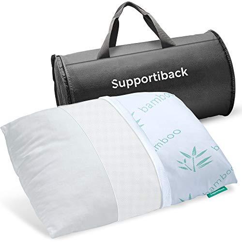 Supportiback - Almohada para cama a tiras con funda extraíble hipoalergénica, con altura ajustable, diseñada médicamente para la prevención del dolor de cuello y espalda y el descanso