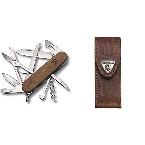 Victorinox Huntsman Wood Taschenmesser, aus Holz, 13 Funktionen, Grosse Klinge, Säge, Schere, nussbaumholz & Leder-Etui für Taschenmesser (Gürtelschlaufe, Klettverschluss, Braun, 3cm x 10cm, Braun)