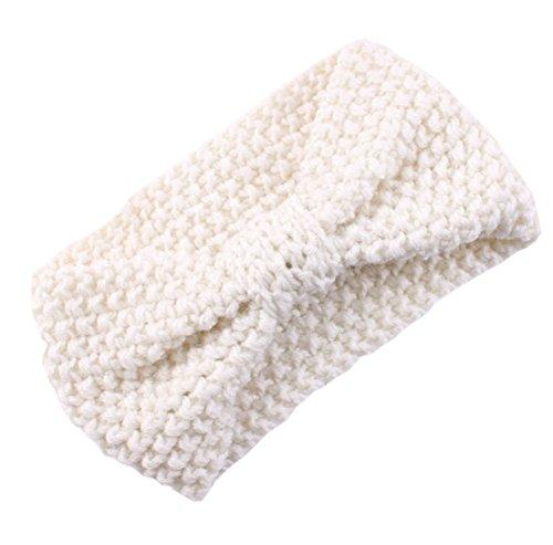 DELEY Femmes Filles Hiver Crochet Tricot Arc Turban Headwrap Bandeau Enveloppement de la Tête de l'Oreille Chaud Blanc