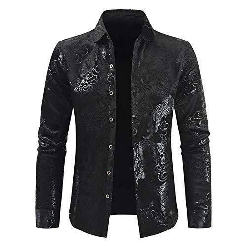 Herren Jacken Retro Muster Langarm Shirts Herrenmode Button Down Revers Oberhemd Casual Business Shirts Herbst Frühling Freizeit T-Shirts Jacke Tops L