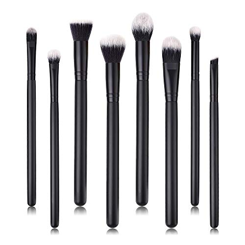 MEIYY Pinceau de maquillage 8Pcs Wood Handle Synthetic Oblique Top Buffer Brush For Face Liquid Foundation Concealer Brushes