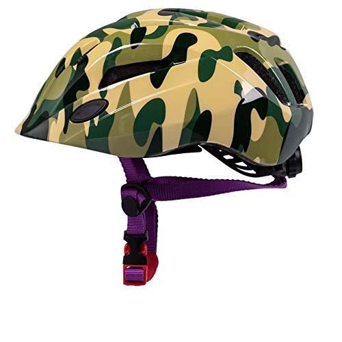 QIUBD Kinderfahrradhelm, Skateboard Und Rollschuh Balance Rollschuhhelm CE-Zertifizierung Einstellbarer Leichter Fahrradhelm Größe 52-57cm (Camouflage)