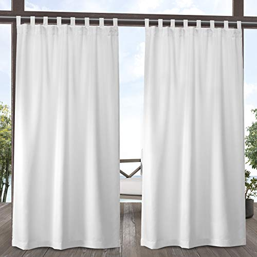Exclusive Home Curtains EH8278-01 2-84V Indoor/Outdoor Solid Cabana Tab Top Curtain Panel Pair, 54x84, Winter White