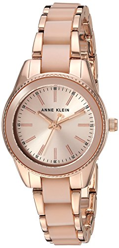 Anne Klein Women's Rose Gold-Tone and Light Pink Resin Bracelet Watch