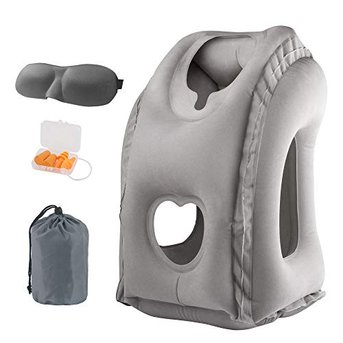 Inflatable Travel Pillow, Airplane Neck Pillow Comfortably Supports Head, Neck and Chin for Airplanes, Trains, Cars and Office Napping with 3D Eye Mask, Earplugs and Portable Drawstring Bag (Gray)