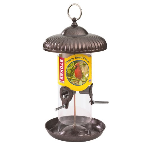 Stokes Select Prairie Seed Bird Feeder with Metal Roof, Brushed Copper, 1.2 lb Capacity