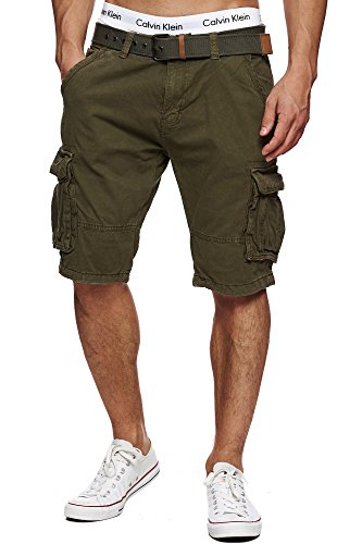 Indicode Herren Monroe Cargo ZA Shorts m. 6 Taschen inkl. Gürtel aus 100% Baumwolle | Kurze Hose Bermuda Sommer Herrenshorts Short Men Pants Cargohose kurz Sommerhose f. Männer Army L