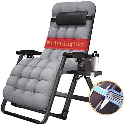 Silla de playa plegable de gravedad cero, silla de cama para el hogar de ocio con balcón al aire libre, sillón de sol con tumbona, soporte para sillas de gravedad cero de 200 kg (color: cojín gris)