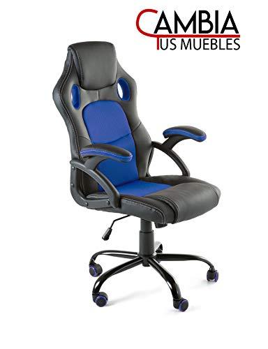 CAMBIA TUS MUEBLES - Silla Gaming X-One sillón Giratorio de Oficina despacho Escritorio, en Negro Rojo Azul y Gris (Azul)
