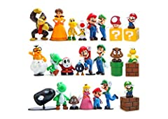 Made of high quality PVC Perfect gift item for any Super Mary fan 18 pieces of Super Mario about 1.8-2.6 inches, 10 pieces of mini set 1 inch They are good ornament. bedroom, car, drawing room and so on. can also be used to decorate cakes. If you hav...