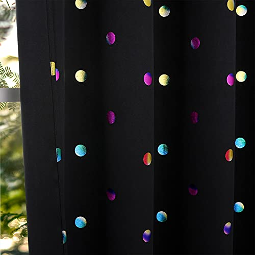 """Thermal Insulated 100% Blackout Curtains for Nursery Kids Room 63inch length Sparkle Metallic Foil Printed Polka-Dot Pattern Curtain Panels, 52"""" Wide Black Window Treatment Sets 2 Pack, Grommet Top"""
