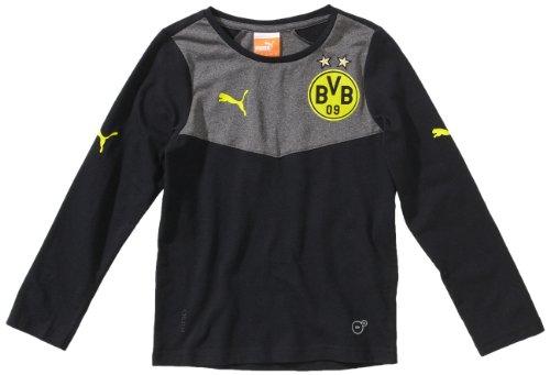 PUMA Kinder Shirt BVB Long Sleeve Tee, Black-Dark Gray Heather, 176, 743524 01
