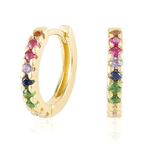 Brandlinger ® Atelier Ohrringe für Damen mit bunten Zirkonia Steinen aus vergoldetem 925 Sterling Silber. Creolen in Gold oder Silber mit Durchmesser 13mm (Gold)