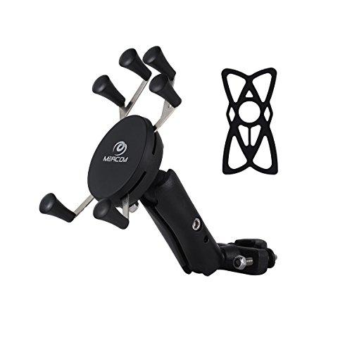 MEACOM Motorrad Handyhalterung Anti-Shake Universal Handy Halter Fahrradhalterung für 3.5-6.5 Zoll Handy und GPS (BH006)