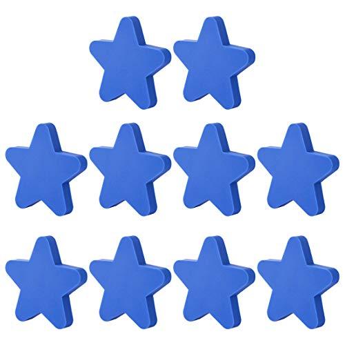 Batop Möbelknöpfe Kinderzimmer, 10er Set Nette Stern Kinder Möbelknopf Möbelknöpfe Schrankgriffe Türknöpfe Schrankknöpfe Griff Knopf, 51x51x22mm (Blau)