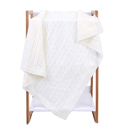 Borlai - Coperta per bambini e bambine, colore puro, morbida coperta a maglia all'uncinetto, 100 x 80 cm