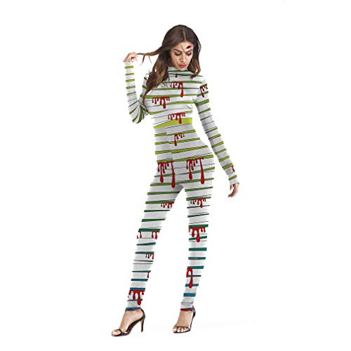 SXFJF Adultos Traje De Las Seoras De Halloween, Esqueleto 3D Body Zipper Enfermera Sangrienta Esqueleto De Manga Larga del Mono, Disfraz,A,L/XL