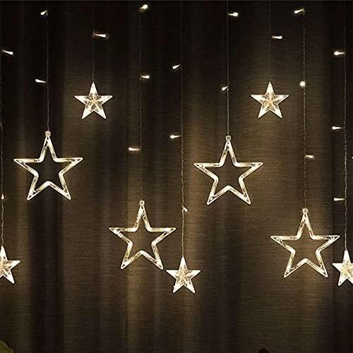 Engalrap Luci per tende a stella, LED Tenda luminosa , Catena luminosa tenda bianca calda con 12 Stelle, 138 LED, Catena luminosa LED Impermeabile Per Natale, Decorazioni Per Feste