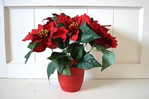 HKT Home Deco Weihnachtsstern im Topf 5 Blüten Deko Kunstblume Poinsettia X-Mas Weihnachtsdeko Blume Pflanze rot ca. 32cm