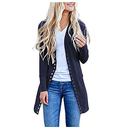 Cappotti casual da donna, stile vintage, tinta unita, per autunno e casual, A-Navy, S