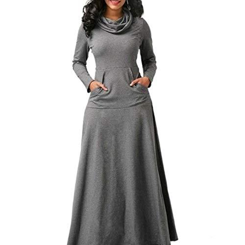 Vestido Largo Casual sólido Retro de otoño e Invierno para Mujer con Bolsillos Falda cálida Bata Larga Cuello con Lazo Vestido Largo Elegante Vestido