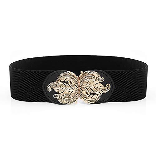 MOONQING Breiter Taillengürtel Elastischer Retro Cinchgürtel Damen Stretchgürtel Vintage Metallschnallengürtel, schwarz