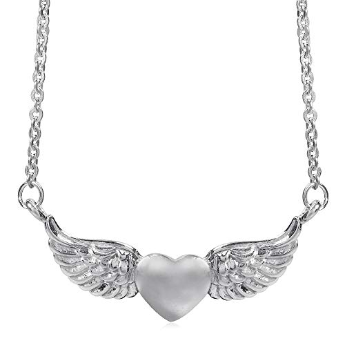 Silvershake 925 Sterling Silver Love Heart Angel Wing Pendant with 16 to 18 Inch Chain Necklace