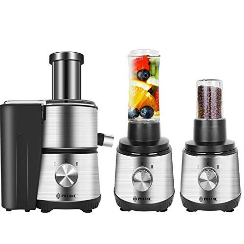 POTANE Multifunctional Juicer Machine, 3 IN 1 Centrifugal Juicer, Personal Blender, Grinder, EMGEL 8830 Motor, Easy to Clean, Stainless Steel