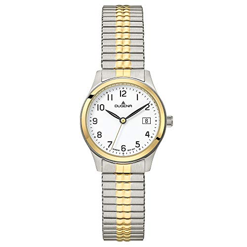 DUGENA Damen-Armbanduhr Bari, Quarz, Edelstahlgehäuse, Mineralglas, Edelstahl-Zugband, 5 bar (Mehrfarbig)