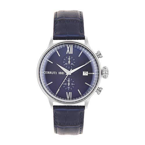 Cerruti 1881 Herren Chronograph Quarz Uhr mit Leder Armband CRA178SN03BL