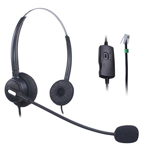 Vanstalk Corded Office Telephone Headset with Noise Canceling Mic RJ9 Headset Dual Ear for Polycom VVX310 VVX311 VVX410 VVX411 Avaya 1408 1416 5410 ShoreTel Deskphones (VT20BJ1)