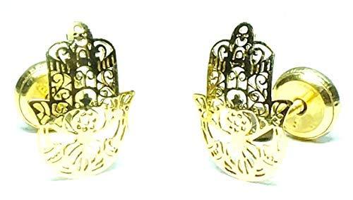 Pendientes Oro de Ley Certificado. modelo mano arabe Niña/Mujer. Cierre de seguridad. Medida 7x10 mm. (4-4805-7)