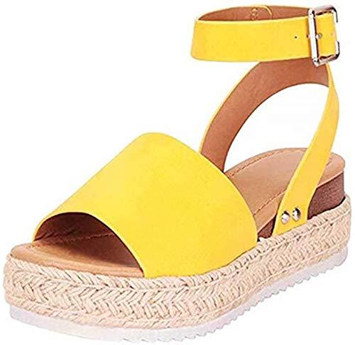 Vrouwen Open sandalen Sleehak Sandalen Espadrilles 5 CM Plateausandalen met enkelband Vrouw Hak Elegant Modieus Geel 35-43,Yellow,37