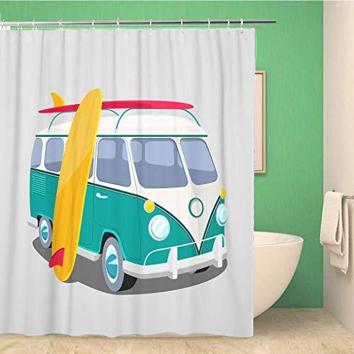 AdaCrazy Bus Surfer Van Hintergr&muster Duschvorhang 3D-Druck Wasserdicht beschichtetes Bad aus Polyestergewebe mit 12 Haken 71 Zoll
