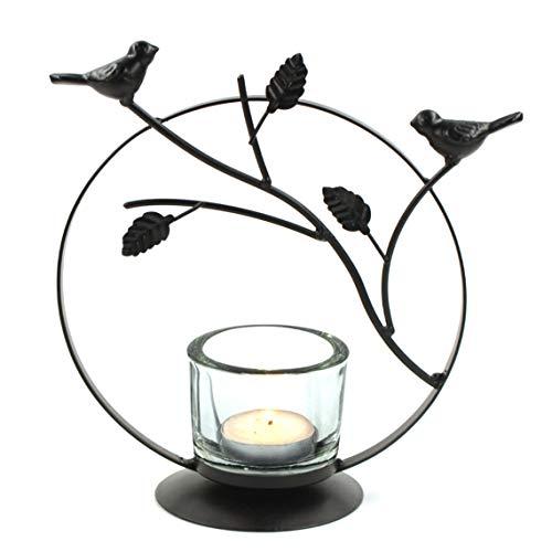 NN Teelichthalter/Kerzenhalter/Windlicht, Design Vögel Äste aus Metall Schwarz 20.5cm Höhe, Dekoration Geschenk Neujahr Silvester
