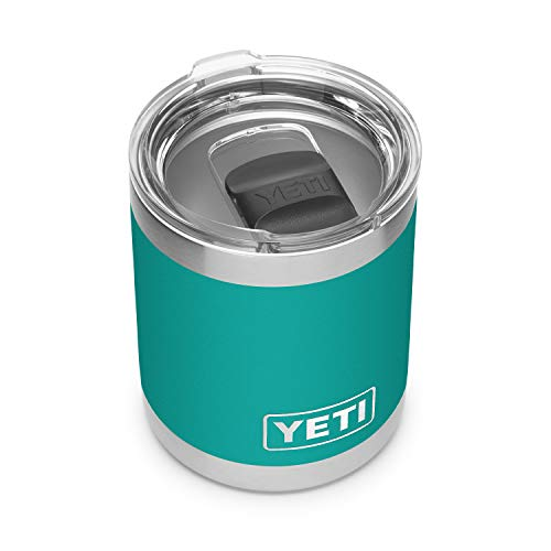 YETI Rambler 10 oz Lowball, Vacuum Insulated, Stainless Steel with MagSlider Lid, Aquifer Blue