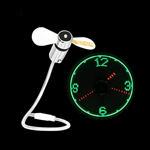 Casa exterior Ventilador de reloj LED de 90 mm Ventilador portátil alimentado por USB con reloj, Tiempo de visualización de luz LED, Mini ventilador de cuello de ganso for computadora portátil y PC-Lu