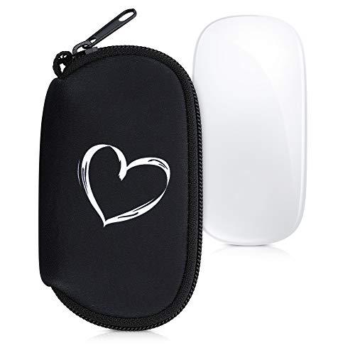 kwmobile Funda Compatible con Apple Magic Mouse 1/2 - Estuche de Neopreno con Cremallera - Carcasa Dibujo de corazón