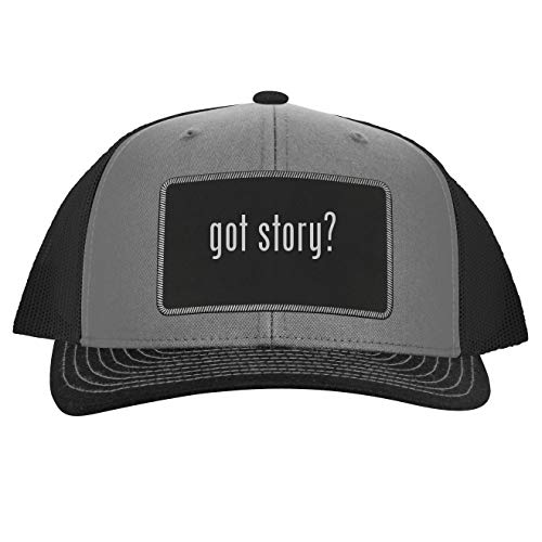 got Story? - Leather Black Patch Engraved Trucker Hat, Grey-Steel, One Size