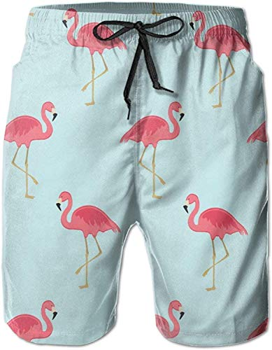 GYYbling Flamingo Short of XXL Traje de baño para Hombre Pantalones Pantalones de Playa Crochet