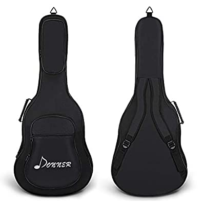 Donner Acoustic Guitar Gig Bag Backpack 0.5 Inch Soft Case Cover Water-Resistant Nonwovens Interior Thicken Sponge Pad 3 Pockets Black